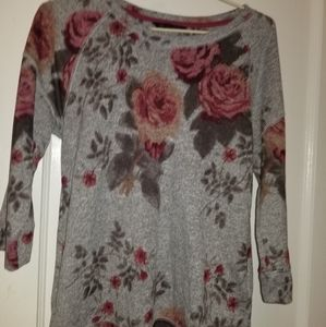 Gray and Burgundy floral sweater  UK 8 EUR 36